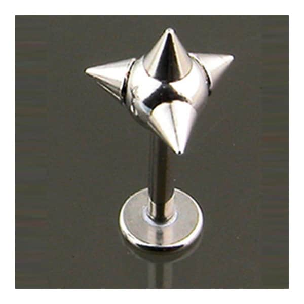 """Surgical Steel Labret with 4-Spiked Ball - 14GA 5/16"""" Long (Sold Ind.)"""