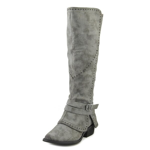 Not Rated Yoko Women Round Toe Synthetic Gray Knee High Boot