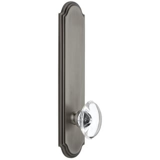 Grandeur ARCPRO_TP_DD_NA  Arc Solid Brass Tall Plate Rose Dummy Door Knob Set with Provence Crystal Knob