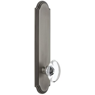 """Grandeur ARCPRO_TP_PSG_238  Arc Solid Brass Tall Plate Rose Passage Door Knob Set with Provence Crystal Knob and 2-3/8"""" Backset"""