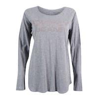 DKNY Jeans Women's Embellished Logo Graphic Top - smoke grey heather