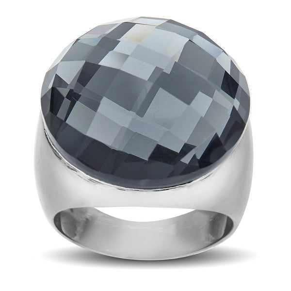 Hematite Globe Ring in Stainless Steel - Black