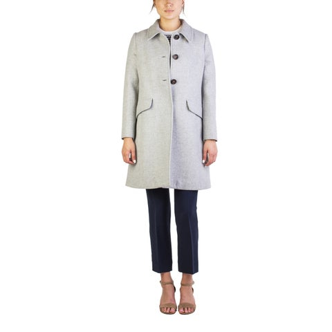 Miu Miu Women's Virgin Wool Three-Button Trench Coat Grey