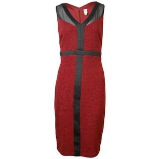 Sangria Women's Metallic Mesh Panel Dress
