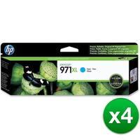 HP 971XL High Yield Cyan Original Ink Cartridge (CN626AM)(4-Pack)