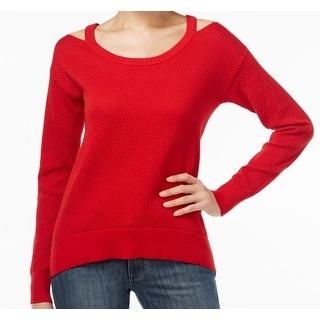 Michael Kors NEW Red Women's Size XS Scoop Neck Cold-Shoulder Sweater