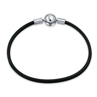Black Leather Starter Charm Beads Bracelet 925 Sterling Silver Round