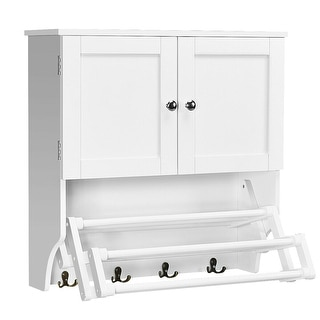 Costway Bathroom Wall Cabinet W/Towel Bar and Stretchable Shelf Storage Pine Rack White
