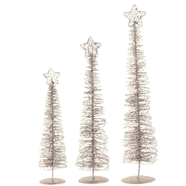 set of 3 winter light silver glittered spiral christmas tree lighted table top decorations 24 - Overstock Christmas Decorations