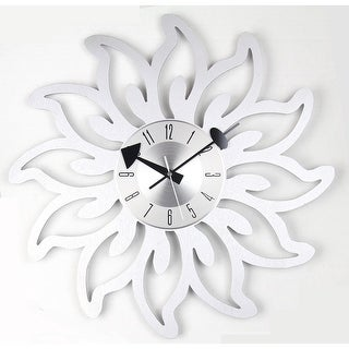 Mid Century Modern sunshine blossoms Clock in 20 inches solid wood