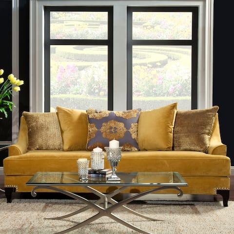 Furniture of America Gisc Contemporary Velvet Upholstered Sofa