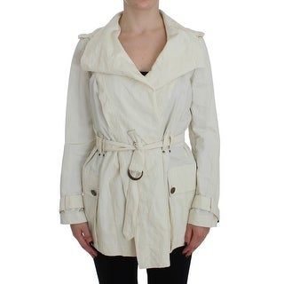 PLEIN SUD White Trench Coat Jacket - it42-s
