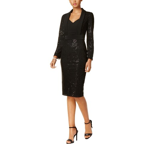 SLNY Womens Cocktail Dress Lace Sequined