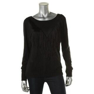 Ella Moss Womens Knit Fringe Pullover Sweater