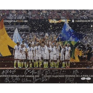 USA Womens Soccer Autographed 16x20 Photo Podium Close Lloyd Solo 7 JSA