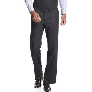 Sean John Mens Tonal Striped Flat Front Dress Pants Black 33 x 30