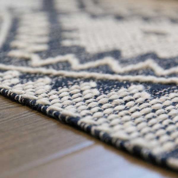 Handwoven Blue Geometric Cotton Wool Flatweave Kilim Area Rug 2 X 3 2 X 3 Overstock 32664814