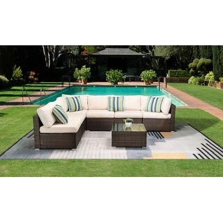 Link to 7 Pcs Wicker Rattan Outdoor Living Sectional Patio Furniture Conversation Sofa Set with Cushions Similar Items in Patio Sets
