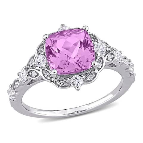 Miadora 14k White Gold Kunzite, White Sapphire, and Diamond Accent Halo Engagement Ring