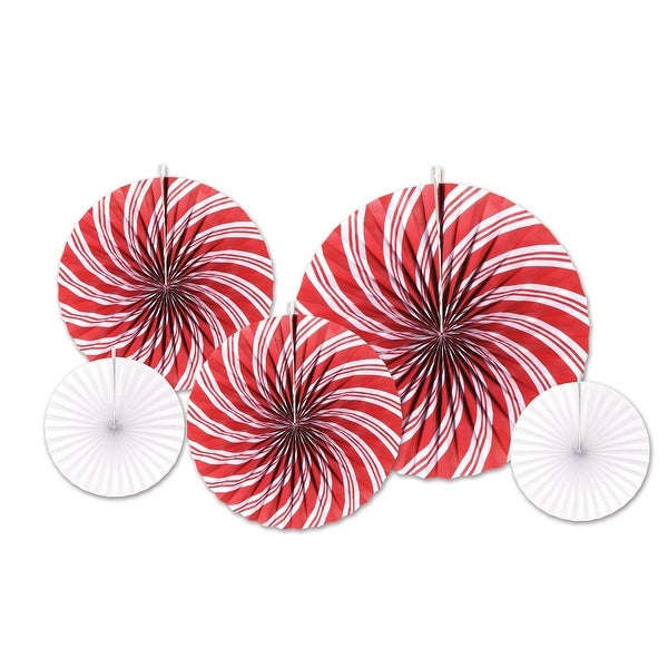 Pack of 60 Assorted Red and White Peppermint Accordion Fans Christmas Decorations