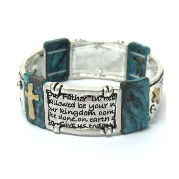 The Lord's Prayer Religious Stretch Bracelet - Silver