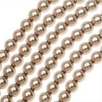 Dazzle It! Czech Glass Pearls, 6mm Round, 1 Strand, Powder Almond