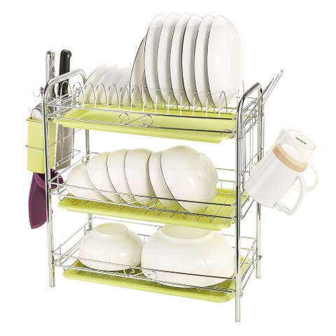 """3 Tiers Dish Rack for Kitchen Cabinet with Cutlery Cup 22.04 x 9.05 x 18.50 IN - 7'6"""" x 9'6"""""""