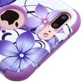 Insten Purple/ White Hibiscus Flower Romance Tuff Hard PC/ Silicone Dual Layer Hybrid Case Cover For Apple iPhone 7 Plus - Thumbnail 2