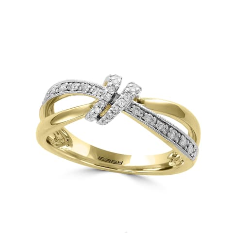Effy Jewelry Diamond Crossover Ring in 14K Yellow Gold, 0.17 TWC Size- 7
