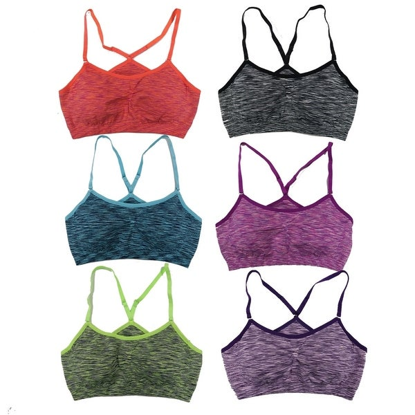 Women's 6 Pack Space Dye Padded Adjustable Straps Sports Bras