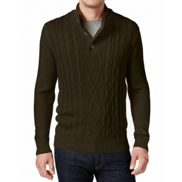 ac70d77b8 Shop Tricots St. Raphael NEW Green Mens Size 3XL Mock Neck Cable Knit  Sweater - Free Shipping On Orders Over  45 - Overstock - 17978863