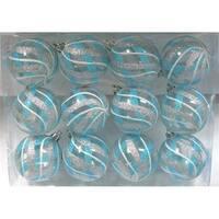 Clear Ball Ornament with Aqua, Silver & White Swirls Design -