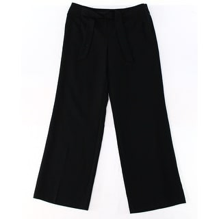 Alfani NEW Solid Black Women's Size 10 Wide-Leg Belted Dress Pants