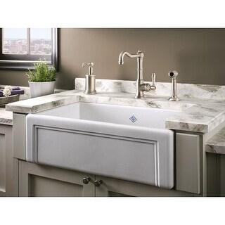 "Rohl RC3017 Shaws 30"" Single Basin Farmhouse Fireclay Kitchen Sink with Decorati - White"