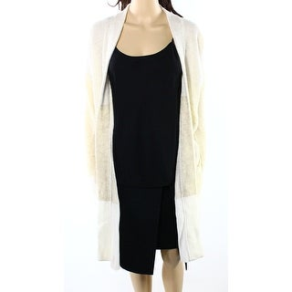 INC NEW Beige Womens Size Large L Ribbed Colorblock Cardigan Sweater
