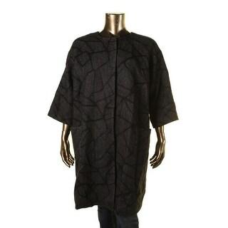 Eileen Fisher Womens Plus Printed 3/4 Sleeves Coat