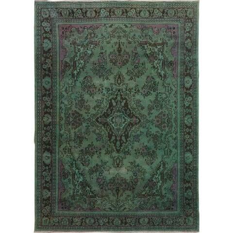"Overdyed Vintage Bibikabad Persian Worn Down Handmade Rug(6'8""x9'9"") - 6'8"" x 9'9"""