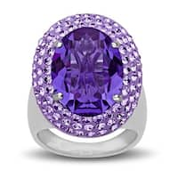 Crystaluxe Ring with Purple Swarovski Elements Crystals in Sterling Silver - Size 7