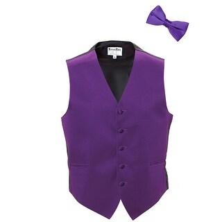 Purple Satin Tuxedo Vest and Bow Tie