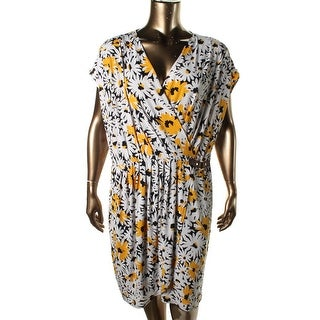 Michael Kors Womens Plus Faux Wrap Floral Print Casual Dress - 1X