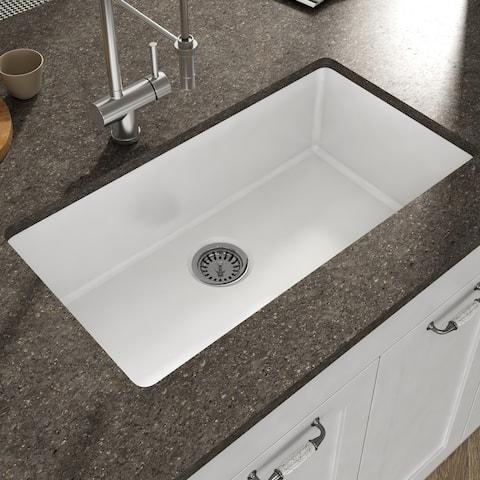 Yorkshire Undermount Fireclay Kitchen Sink in White with Strainer