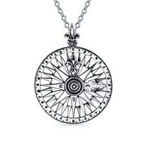 Bling Jewelry Round Rose Compass Pendant .925 Sterling Silver
