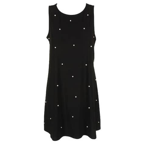 Msk Petite Black Sleeveless Imitation-Pearl Shift Dress PL