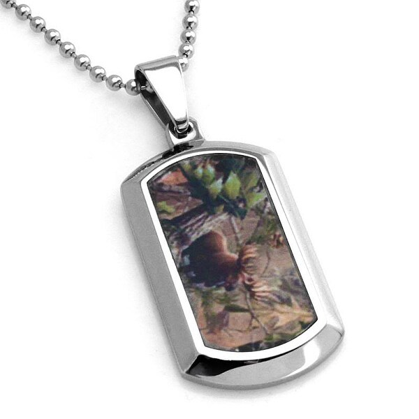 Stainless Steel Forest Animal Camouflage Dog Tag Pendant - 24 inches