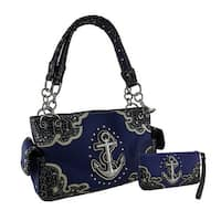 Nautical Anchor Rhinestone Studded Concealed Carry Purse/Wallet Set