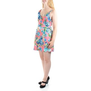 CRYSTAL DOLLS $37 Womens New 1459 Blue Floral Fit Flare Dress Juniors 11 BB