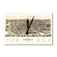 Roanoke, Virginia - Panoramic Map (Acrylic Wall Clock) - acrylic wall clock