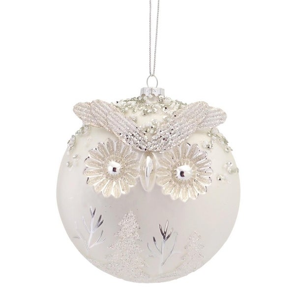 Pack of 6 Woodland Owl White and Silver Glass Ball Christmas Ornaments 5""