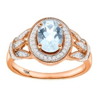 1 1/10 ct Natural Aquamarine & 1/6 ct Diamond Ring in 10K Rose Gold - Blue