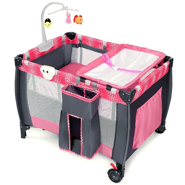 Costway Foldable Travel Baby Playpen Crib Infant Bassinet Bed Mosquito. Opens flyout.